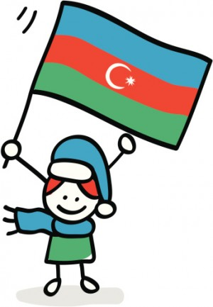 kid holding Azerbaijan flag cartoon illustration
