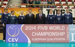 Slovenska predstavnika CEV s sodniki na kvalifikacijaem turnirju na Nizozemskem