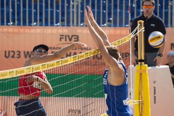 Mitja Turk v vlogi 1. sodnika - FIVB Beach Volleyball U23 Svetovno prvenstvo (foto: Conny Kurth / 2014 FIVB)